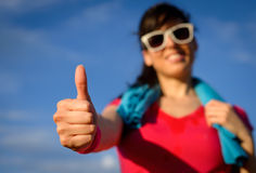 Exercising success gesture Stock Photos