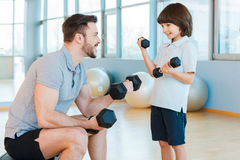 Exercising together is fun. Stock Photo