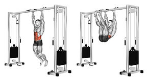exercising Tracción de las piernas a los brazos que cuelgan en la barra transversal Fotografía de archivo