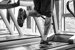 Exercising On A Treadmill Stock Images