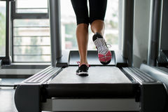 Exercising on a treadmill Stock Photo