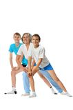 Exercising with two boys Royalty Free Stock Photo