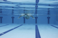 Exercising underwater. Underwater picture of a man swimming Stock Image