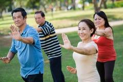 Exercising Vietnamese seniors Royalty Free Stock Photography