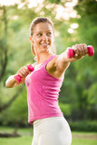 Exercising with weights Stock Photo