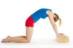Exercising woman. Kneeling on the floor Stock Image