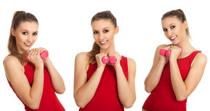 Exercising young woman in red shirt Stock Photography