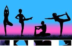 Exercitando meninas ilustração royalty free