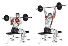 exercitar Imprensa de uma barra devido ao assento principal Fotografia de Stock Royalty Free