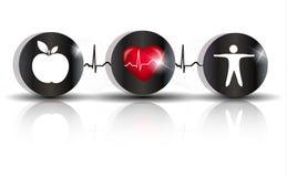 Exercite um símbolo da dieta saudável ilustração do vetor