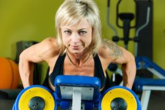 Exersice with dumbbells Stock Images