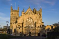 Exeter Cathedral, Devon, England, United Kingdom. Sunlit Facade of the Exeter Cathedral, Devon, England, United Kingdom stock image