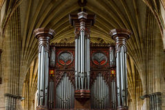 Exeter Cathedral - organ and ceiling Royalty Free Stock Photos