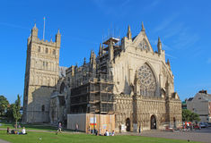 Exeter Cathedral under renovation, Devon, United Kingdom. The Cathedral Church of Saint Peter at Exeter. Originally built around 1400, this city landmark has Stock Images