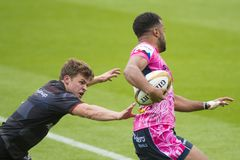 The Exeter Chiefs and Saracens Rugby 7 S. Premiership Series at Northampton Franklins Garden royalty free stock photo