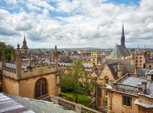 Exeter College and Bodleian Library as seen from the cupola of Sheldonian Theatre. Oxford. England. Exeter College chapel and the wing of Bodleian Library as stock photos