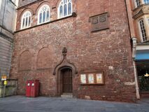 Free EXETER, DEVON, UK - December 03 2019: St Petrock Church Entrance On Exeter High Street.  The Church Hosts A Local Charity That Ass Stock Photo - 179827570