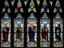 Stained Glass in Exeter Cathedral, Nave South Window D, Depictin royalty free stock images
