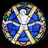 Stained Glass in Exeter Cathedral, St Andrews Chapel Window, Christ Walking on the Water Tracery Light A. Exeter, England - Dec 04, 2017: Stained Glass in Exeter stock photos