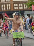 Exeter holds Naked Bike Ride Stock Image