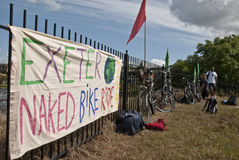 Exeter holds Naked Bike Ride. Cyclists came together to ride in the first ever Exeter Naked Bike Ride. Riders who took part in this peaceful and fun protest Stock Photo