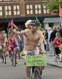 Exeter holds Naked Bike Ride. Royalty Free Stock Photo