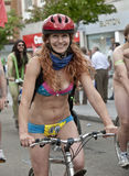 Exeter holds Naked Bike Ride. Royalty Free Stock Photography