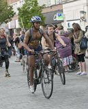 Exeter holds Naked Bike Ride. Royalty Free Stock Photos