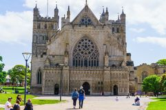 Exeter. June 02, 2018.Exeter Cathedral or the Cathedral of the Apostle Peter in Exeter - the cathedral of the Anglican Church in stock image