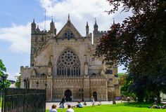 Exeter. June 02, 2018.Exeter Cathedral or the Cathedral of the Apostle Peter in Exeter - the cathedral of the Anglican Church in royalty free stock photo