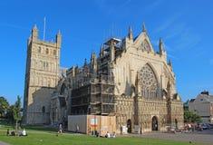 Exeter katedra pod odświeżaniem, Devon, Zjednoczone Królestwo obrazy stock