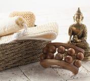 Exfoliación y masaje fijados para la belleza interna Fotografía de archivo