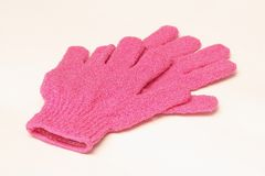 Exfoliating gloves isolated Royalty Free Stock Images