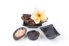 Exfoliation de corps avec des traitements spéciaux disponibles pour votre choix (la cire rose de sel frottent, huile de sésame ave image stock