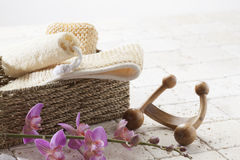 Exfoliation set before a massage session Stock Photography