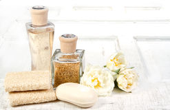 Exfoliation spa still life Royalty Free Stock Photos