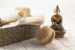 Exfoliationuppsättning med Buddish mindset Arkivbilder