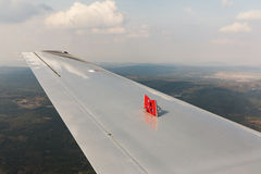 Exhaust brake pads on the wing Stock Photo