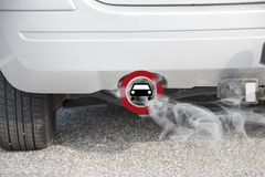 Exhaust from a car with the traffic sign for driving ban, in ger stock photos