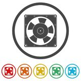 Exhaust fan icon, 6 Colors Included. Simple vector icons set Stock Photo