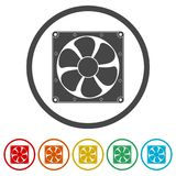 Exhaust fan icon, 6 Colors Included. Simple vector icons set Stock Images