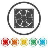 Exhaust fan icon, 6 Colors Included. Simple vector icons set Stock Image