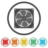 Exhaust fan icon, 6 Colors Included. Simple vector icons set Stock Photos