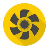 Exhaust fan icon with long shadow. Vector icon Royalty Free Stock Photography