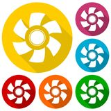 Exhaust fan icons set with long shadow Stock Photo