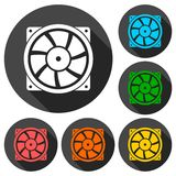 Exhaust fan vector icon with long shadow Stock Photos
