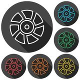 Exhaust fan vector icons set with long shadow. Vector icon Royalty Free Stock Photos