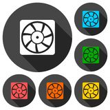 Exhaust fan vector icons set with long shadow Royalty Free Stock Photo