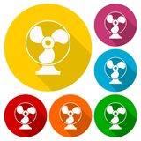 Exhaust fan vector icons set with long shadow Stock Image