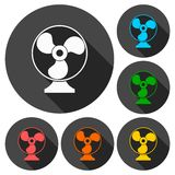 Exhaust fan vector icons set with long shadow Stock Photos
